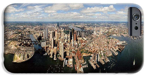 City. Boston iPhone Cases - Aerial View Of A Cityscape, Boston iPhone Case by Panoramic Images