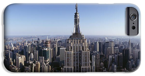 City Scene iPhone Cases - Aerial View Of A Cityscape, Empire iPhone Case by Panoramic Images