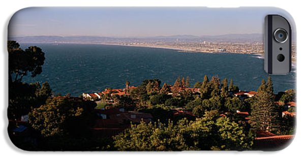 Built Structure iPhone Cases - Aerial View Of A Coastline, Los Angeles iPhone Case by Panoramic Images
