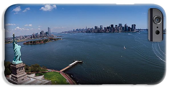 New York City iPhone Cases - Aerial View Of A Statue, Statue iPhone Case by Panoramic Images