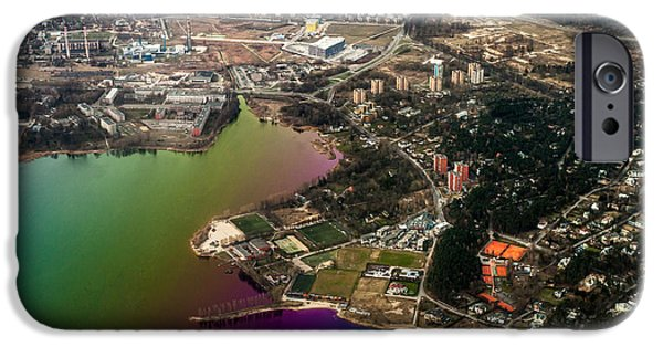 Unique View iPhone Cases - Aerial View of Bay. Rainbow Earth iPhone Case by Jenny Rainbow