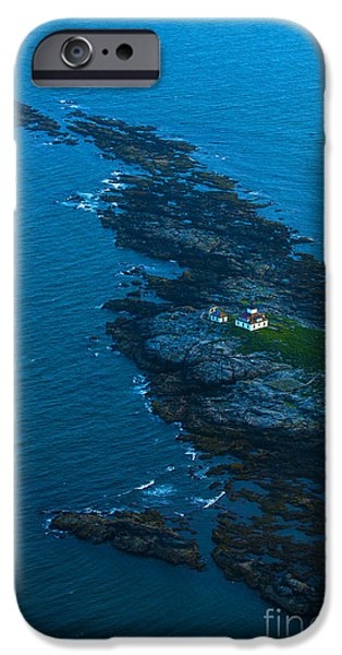Maine iPhone Cases - Aerial View Of Egg Rock Lighthouse iPhone Case by Diane Diederich