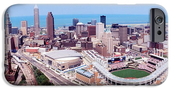 Baseball iPhone Cases - Aerial View Of Jacobs Field, Cleveland iPhone Case by Panoramic Images