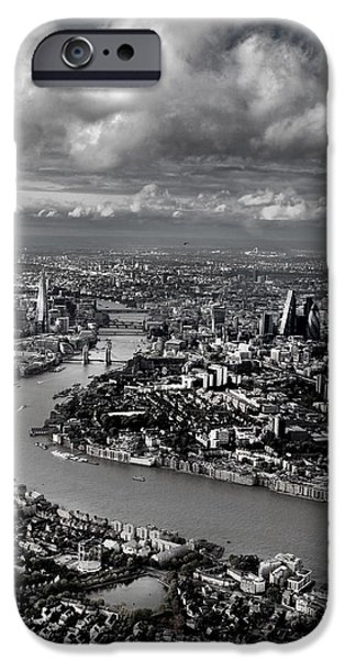 Aerial View iPhone Cases - Aerial view of London 4 iPhone Case by Mark Rogan