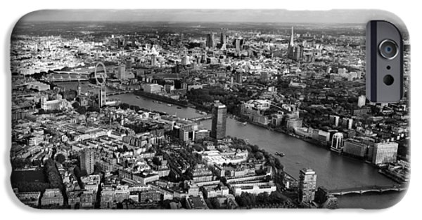 Big Ben iPhone Cases - Aerial view of London iPhone Case by Mark Rogan