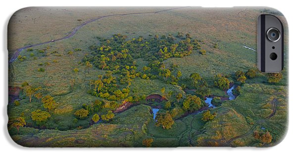 Birdseye iPhone Cases - Aerial View Of Masai Mara, Kenya iPhone Case by Bill Bachmann
