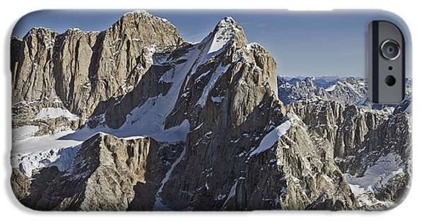 Mooses Tooth iPhone Cases - Aerial View Of Mooses Tooth And Broken iPhone Case by Mark Stadsklev
