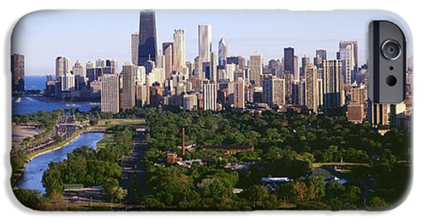 Lincoln iPhone Cases - Aerial View Of Skyline, Chicago iPhone Case by Panoramic Images