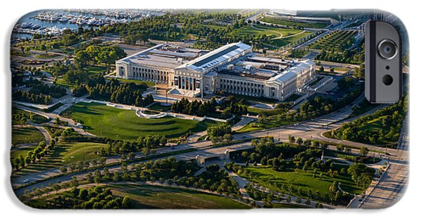 Soldier Field iPhone Cases - Aerial View Of The Field Museum iPhone Case by Panoramic Images
