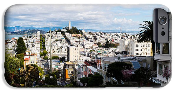 Bay Bridge iPhone Cases - Aerial View Of The Lombard Street, Coit iPhone Case by Panoramic Images