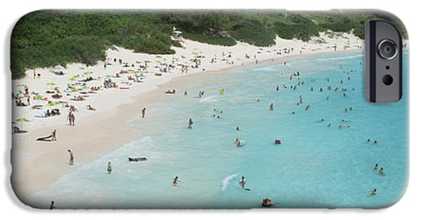 Pursuit iPhone Cases - Aerial View Of Tourists On The Beach iPhone Case by Panoramic Images