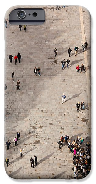 Notre Dame Cathedral iPhone Cases - Aerial View Of Tourists Viewed iPhone Case by Panoramic Images