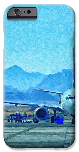 Asphalt iPhone Cases - Aeroplane At Airport iPhone Case by Antony McAulay