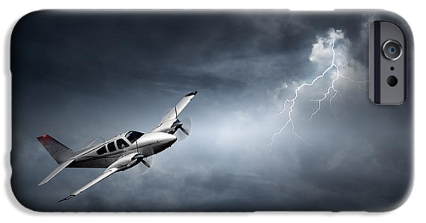 Lightning Bolts iPhone Cases - Risk - Aeroplane in thunderstorm iPhone Case by Johan Swanepoel