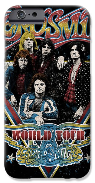 Tom Boy iPhone Cases - Aerosmith - World Tour 1977 iPhone Case by Epic Rights