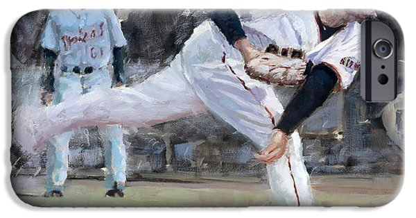 Baseball Art Paintings iPhone Cases - Affeldt Delivery iPhone Case by Darren Kerr