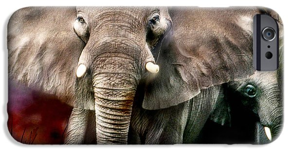 Elephants Mixed Media iPhone Cases - Africa - Protection iPhone Case by Carol Cavalaris