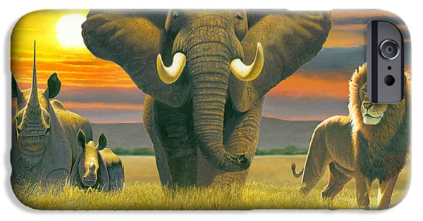 Elephants iPhone Cases - Africa Triptych Variant iPhone Case by Chris Heitt