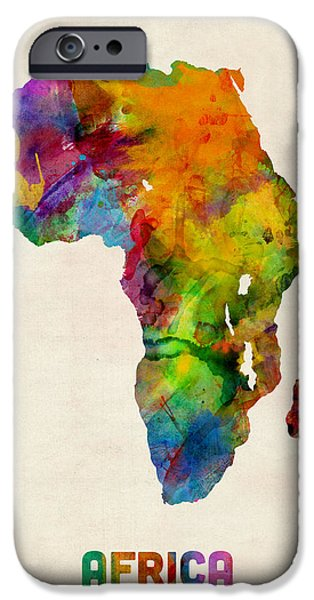 Maps - iPhone Cases - Africa Watercolor Map iPhone Case by Michael Tompsett