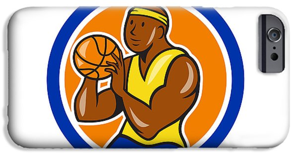 American Basketball Player iPhone Cases - African-American Basketball Player Shooting Cartoon Circle iPhone Case by Aloysius Patrimonio