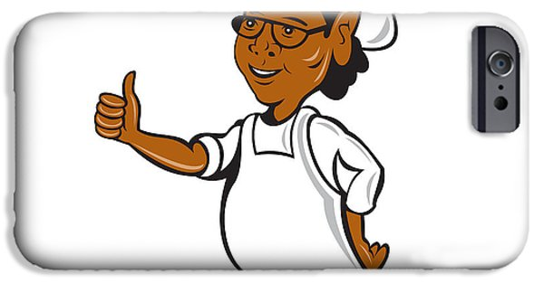 African-american Digital Art iPhone Cases - African American Chef Cook Thumbs Up Cartoon iPhone Case by Aloysius Patrimonio