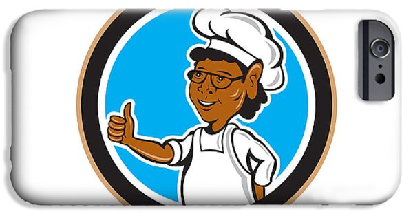 African-american Digital Art iPhone Cases - African American Chef Cook Thumbs Up Circle iPhone Case by Aloysius Patrimonio