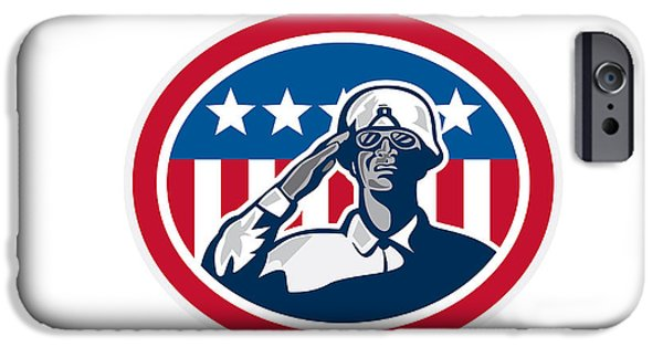 African-american Digital Art iPhone Cases - African American Soldier Salute Flag Retro iPhone Case by Aloysius Patrimonio