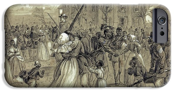 Arkansas Drawings iPhone Cases - AFRICAN AMERICAN SOLDIERS return HOME from WAR - 1866 iPhone Case by Daniel Hagerman