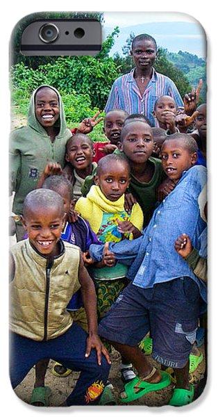 African Children Gawking for Camera Gishwati Forest near Lake Kivu Rwanda Africa iPhone Case by Robert Ford