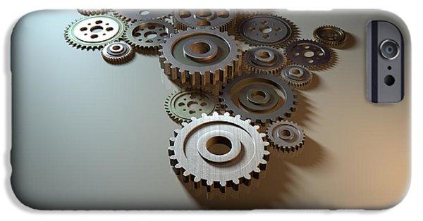 Cogs iPhone Cases - African Cogwheel Machine iPhone Case by Allan Swart