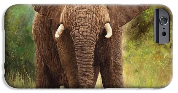 David iPhone Cases - African Elephant iPhone Case by David Stribbling