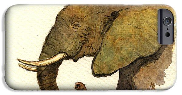 Elephant iPhone Cases - African elephant head iPhone Case by Juan  Bosco
