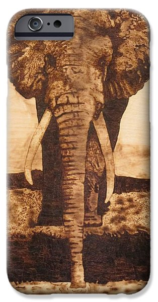 Elephants Pyrography iPhone Cases - African Elephant  iPhone Case by Iliev Petkov