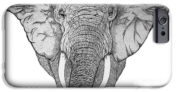 Pen And Ink iPhone Cases - African Elephant iPhone Case by Nick Gustafson