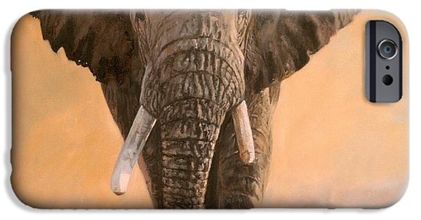 Sunset Prints iPhone Cases - African Elephants iPhone Case by David Stribbling