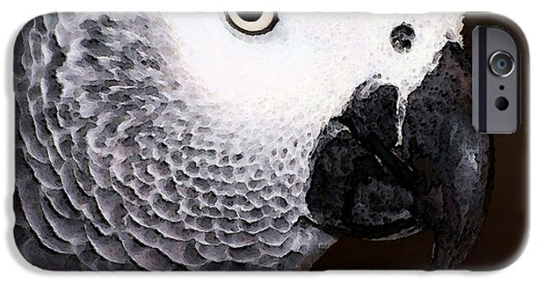 Birds Digital iPhone Cases - African Gray Parrot Art - Seeing Is Believing iPhone Case by Sharon Cummings