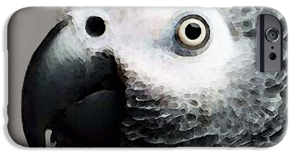 Birds iPhone Cases - African Gray Parrot Art - Softy iPhone Case by Sharon Cummings