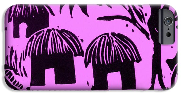 Printmaking Reliefs iPhone Cases - African Huts Pink iPhone Case by Caroline Street
