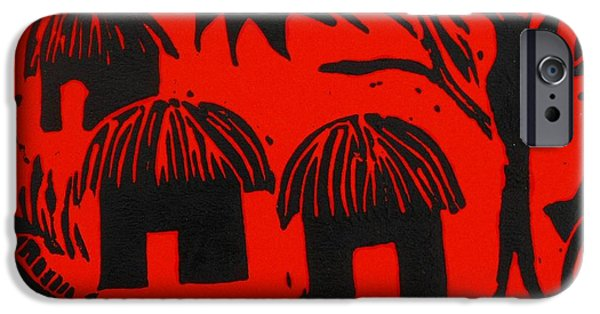 Lino Print Reliefs iPhone Cases - African Huts Red iPhone Case by Caroline Street