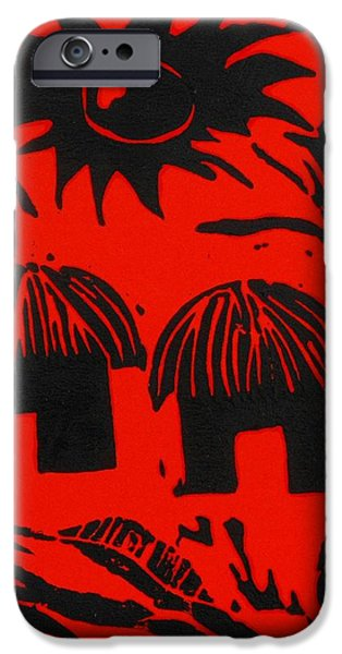 African Huts Red iPhone Case by Caroline Street