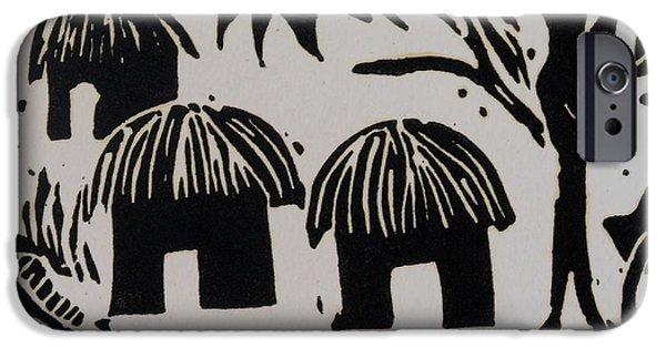 Lino Print Reliefs iPhone Cases - African Huts White iPhone Case by Caroline Street