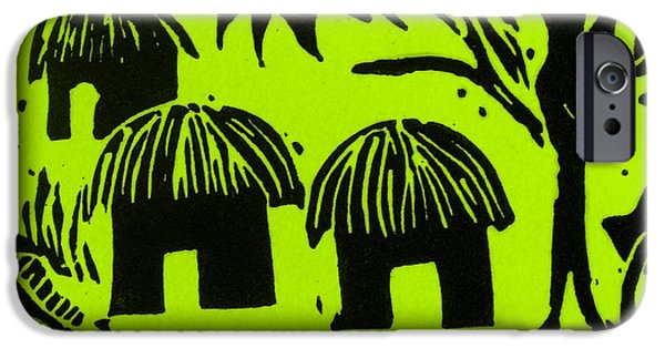 Lino Print Reliefs iPhone Cases - African Huts Yellow iPhone Case by Caroline Street