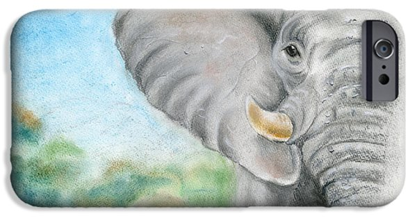 Elephants Pastels iPhone Cases - African King iPhone Case by Harry Speese