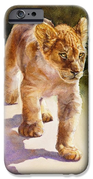 Wild Animals iPhone Cases - African Lion Cub iPhone Case by Bonnie Rinier