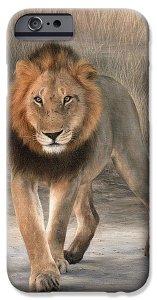 Lion Art iPhone Cases - African Lion Painting iPhone Case by Rachel Stribbling