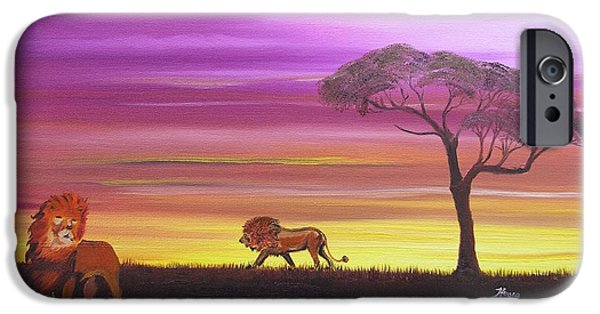 Van Dyke Brown iPhone Cases - African Lions iPhone Case by Barbara Hayes