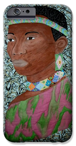 African-americans Tapestries - Textiles iPhone Cases - African Queen iPhone Case by Linda Egland