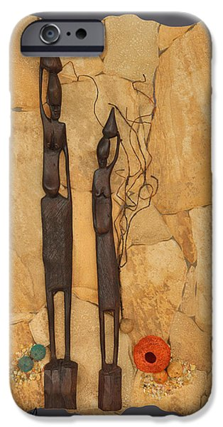 Ceramic Mixed Media iPhone Cases - African Sisters iPhone Case by Dawn Broom