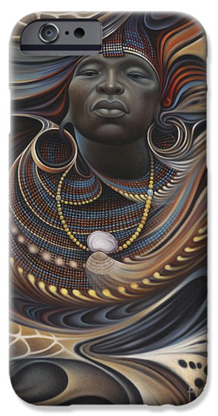 Earth Paintings iPhone Cases - African Spirits I iPhone Case by Ricardo Chavez-Mendez