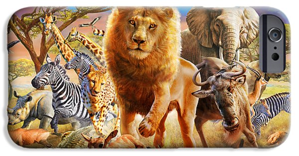 Cheetah Digital Art iPhone Cases - African Stampede iPhone Case by Adrian Chesterman